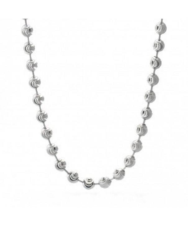 DIAMOND Beaded Necklace Italian Sterling