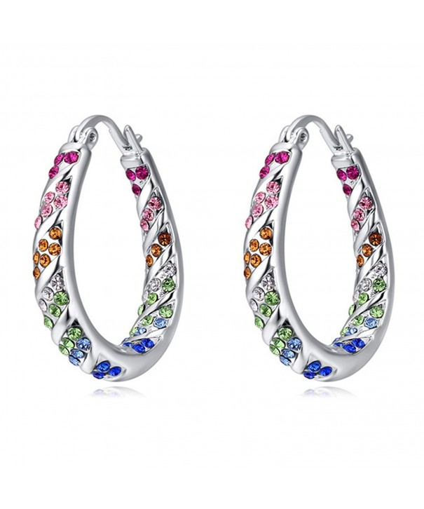 White Gold Plated Round Cut Hoop Earrings With Swarovski Elements Crystals Cj12l7qmr4t