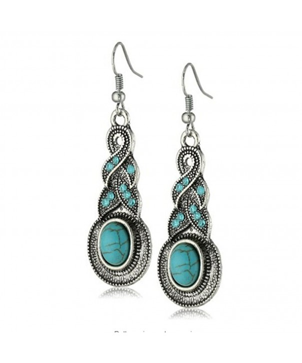 Yazilind Tibetan Turquoise Crystal Earrings