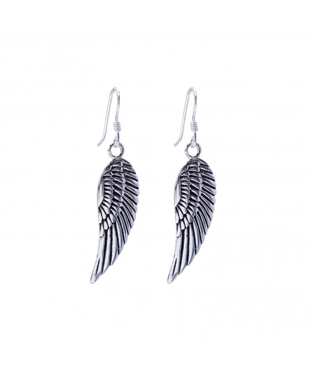 Silverly Womens Sterling Feather Earrings