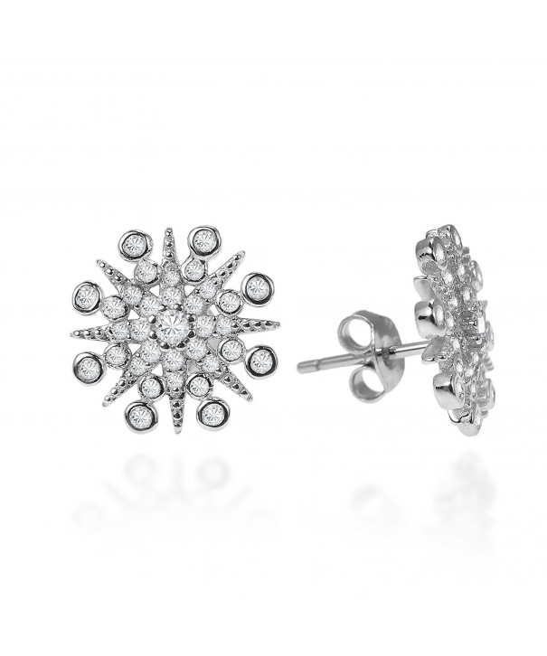 Exquisite Snowflake Zirconia Sterling Earrings
