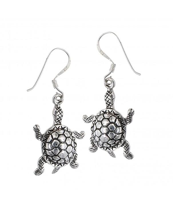 Turtle Dangle Earrings Sterling Silver