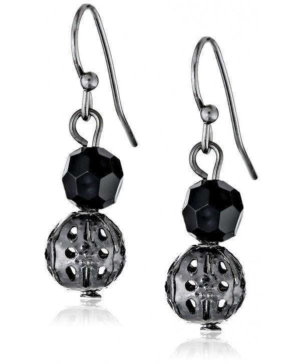 1928 Jewelry Black Dangle Earrings