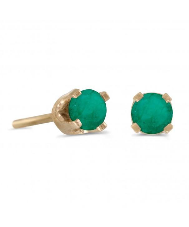 Petite Genuine Emerald Earrings Yellow