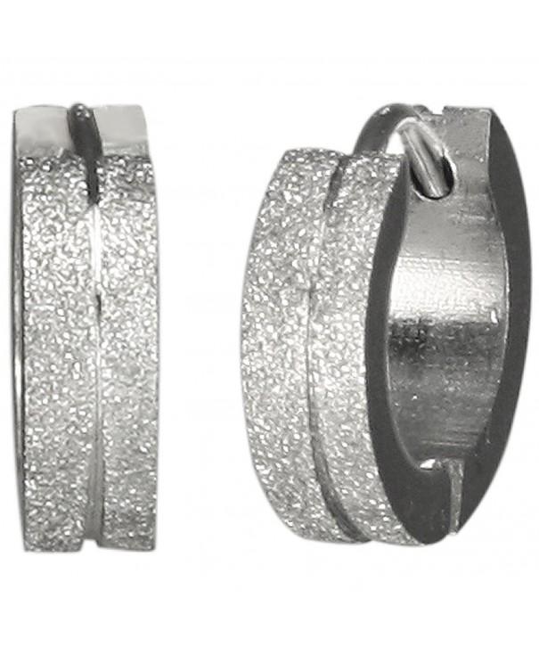 Sparkling Stainless Center Grooved Earrings