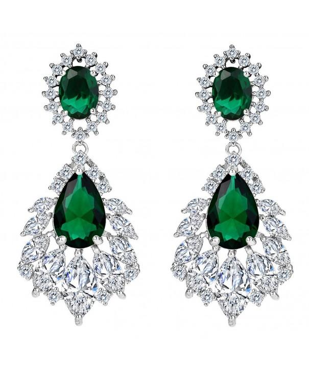 BriLove Zirconia Chandelier Earrings Silver Tone