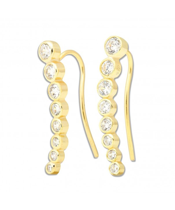 Sterling Bezel set Climber Hypoallergenic Earrings