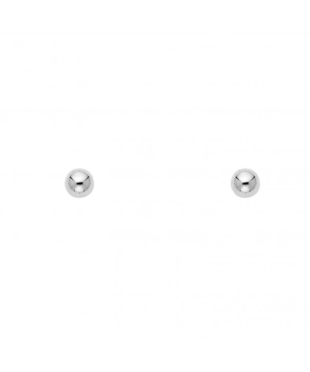 White Gold Ball Earrings Screwback