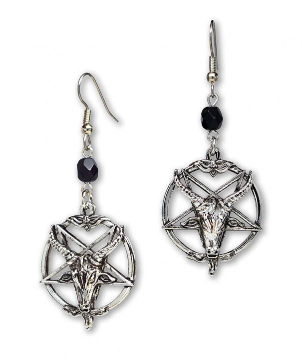 8a4dd7798 Baphomet Satanic Goat Head Inverted Pentagram Silver Finish Dangle ...