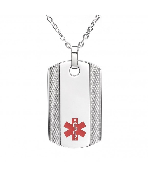 Engraving Stainless Medical Pendant Necklace