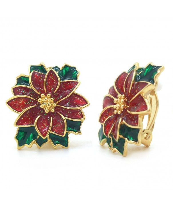 Poinsettia Earrings Christmas Flower Fashion
