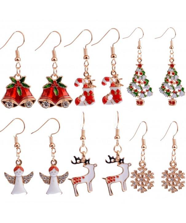 Christmas Dangle Earrings Stockings Snowflake