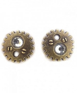 Bronze earrings crystal steampunk gearrings