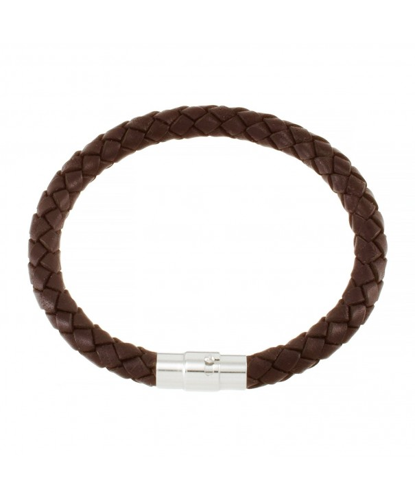 Magnetic Brown Braided Leather Bracelet