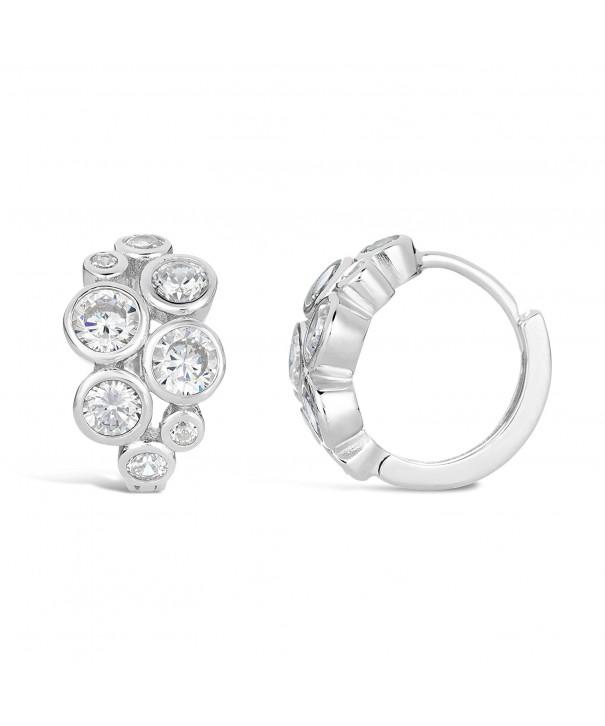 Sterling Silver Cluster Zirconium Earrings