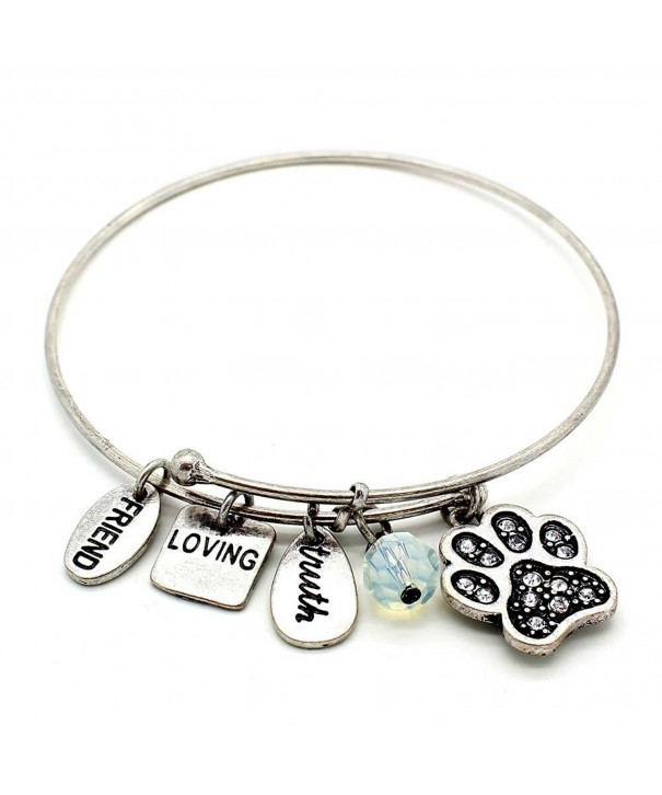 Symbology Dog Bangle Bracelet Silver