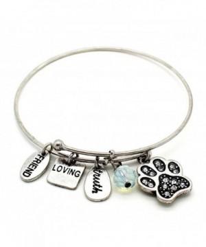 Symbology Dog Bangle Bracelet Silver