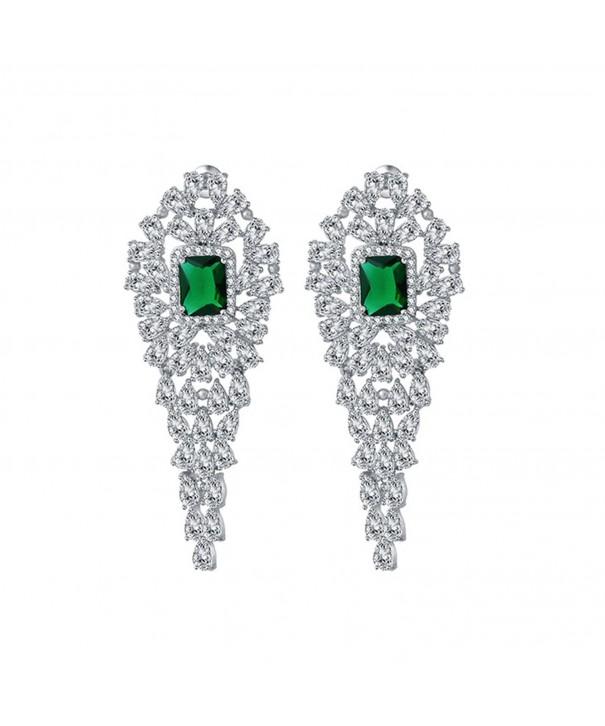 SELOVO Vintage Zirconia Emerald Earrings