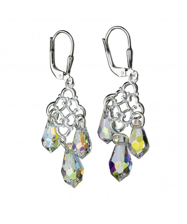 Sterling Leverback Earrings Borealis Swarovski