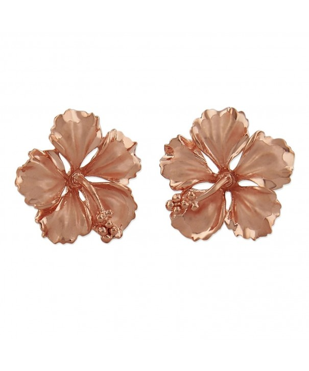 Plated Sterling Silver Hibiscus Earrings