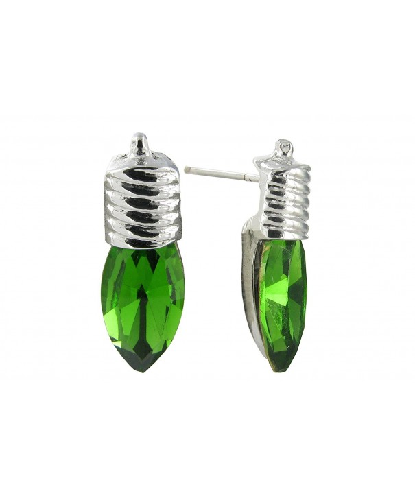 Mini Green Christmas Light Earrings