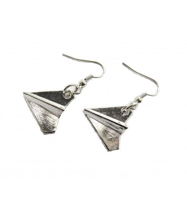 Silver Airplane Earrings Jewelry Pendant