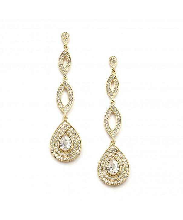 Mariell Dramatic Micro Pave Wedding Earrings