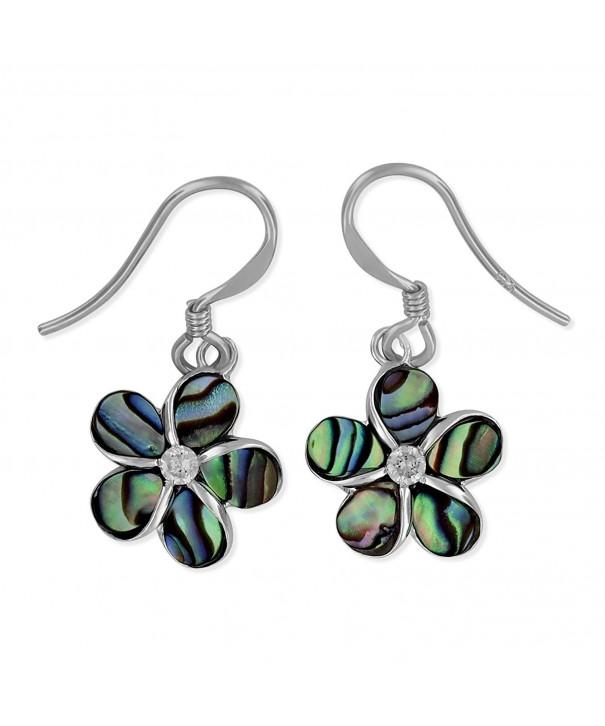 Sterling Silver Abalone Plumeria Earrings