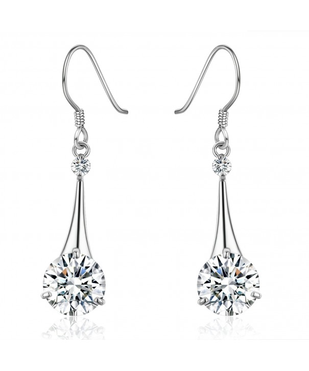 SBLING Platinum Plated Silver Zirconia Earrings