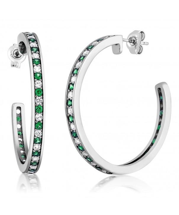 Sterling Emerald Created Sapphire Earrings
