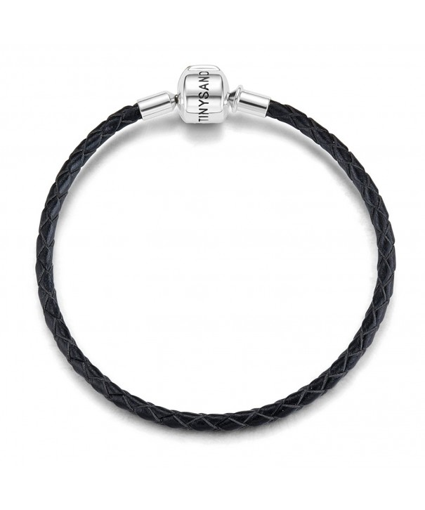 TINYSAND Genuine Leather Bracelet Sterling