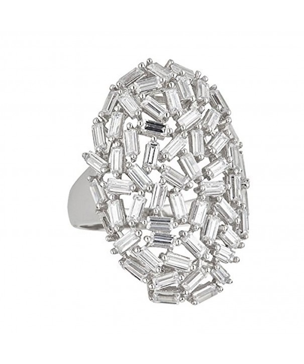 Sterling Rhodium Baguette Cocktail Zirconia