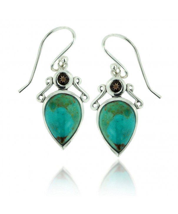 Oxidized Sterling Turquoise Gemstone Earrings