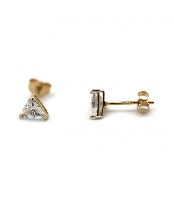 Yellow Small Zirconia Triangle Earrings