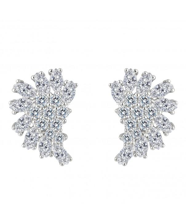 EleQueen Sterling Zirconia Marquise Earrings