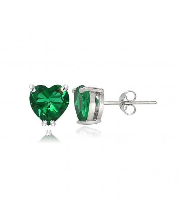 Sterling Silver Created Emerald Earrings