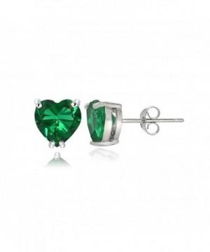 Sterling Silver Created Emerald Earrings