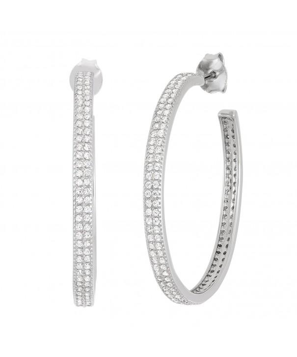 Sterling Silver 30mm Double Row Earrings