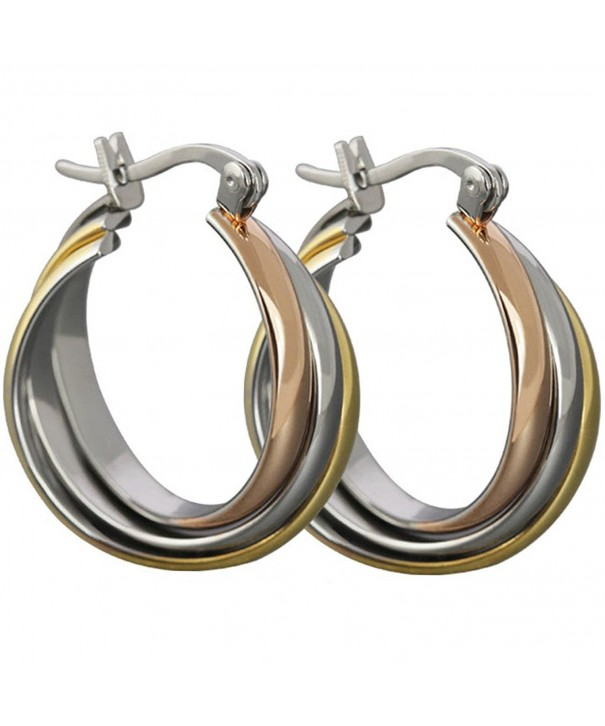 Aienid Stainless Earrings Tri circle 21 5x26 8MM