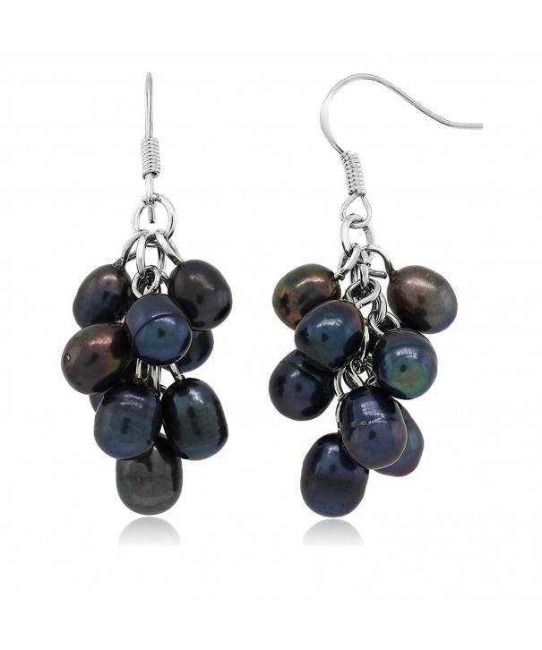 Black Cultured Freshwater Cluster Earrings