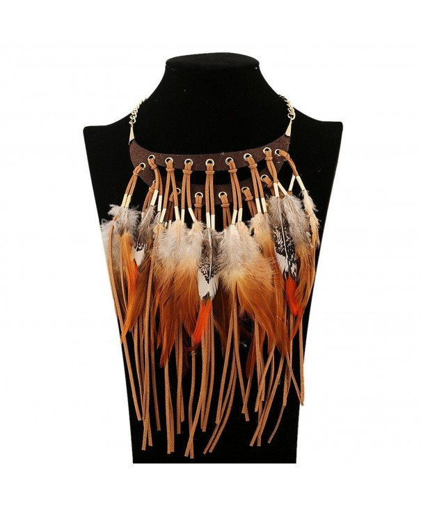 Fashion Feathers Leather Tassels Necklace