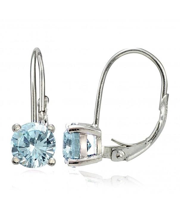 Sterling Silver Aquamarine Leverback Earrings