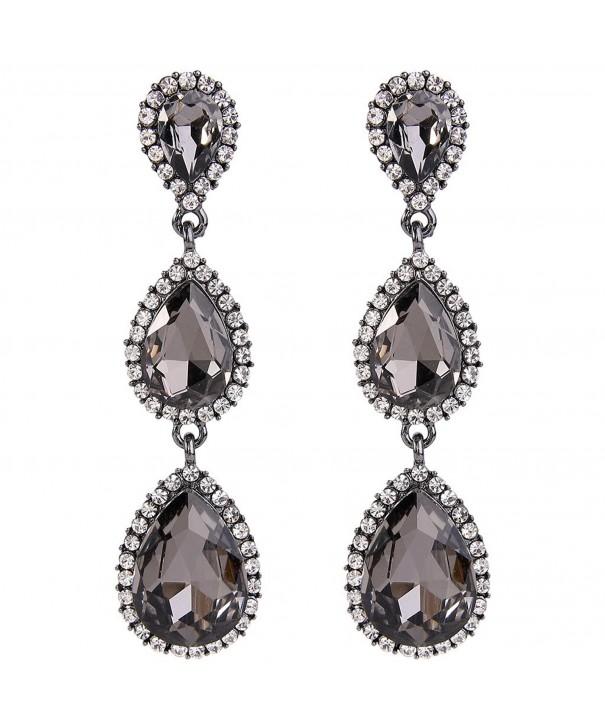 620c9540e Women's Black-tone Austrian Crystal Teardrop Pear Shape 2.5 Inch ...