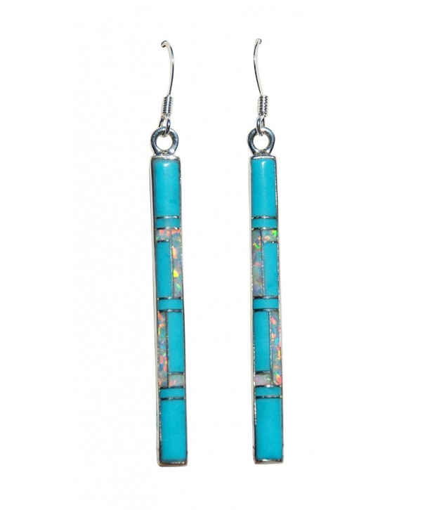 Handmade Silver Stabilized Turquoise Earrings