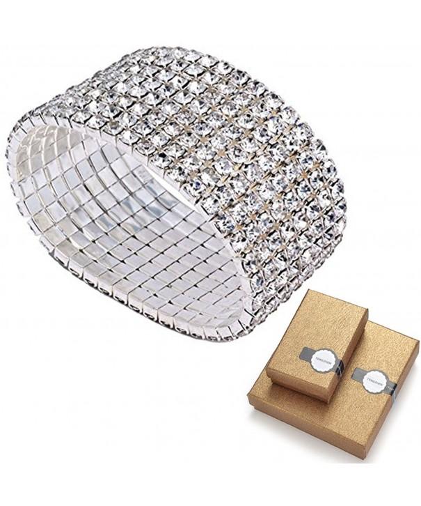 Bridal Rhinestone Stretch Bracelet Silver