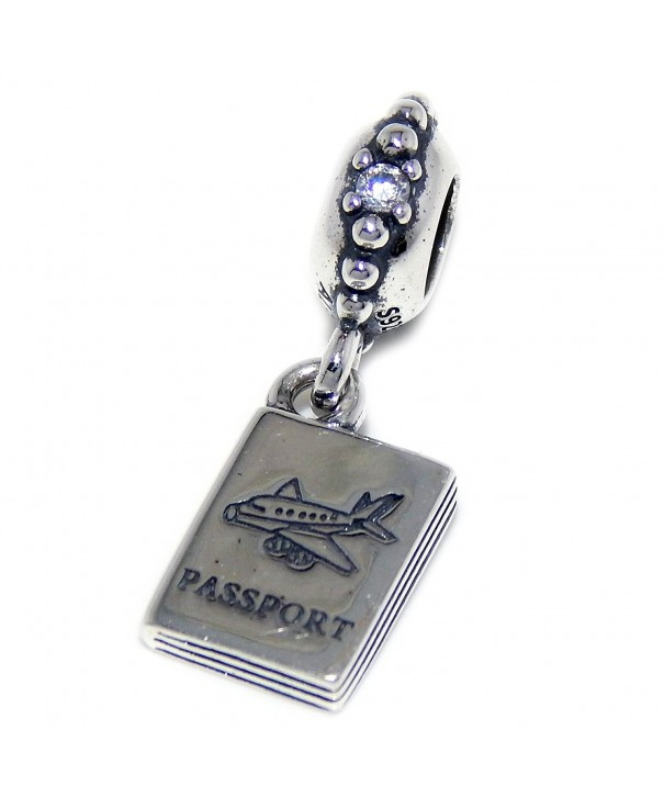 Solid Sterling Silver Dangling Passport