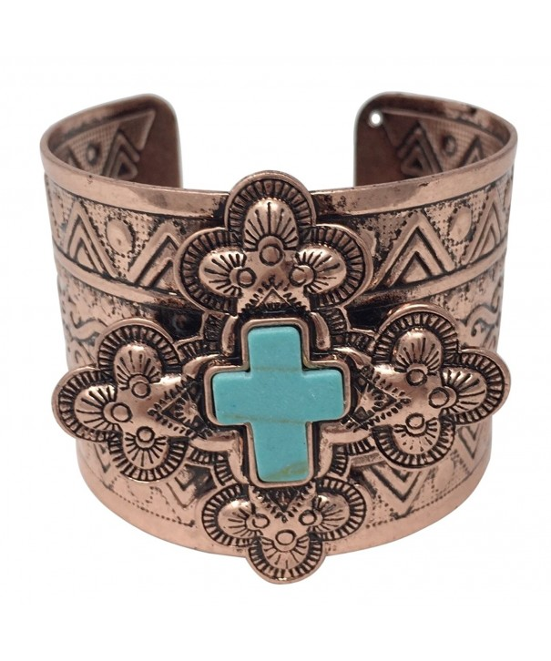 Simulated Turquoise Western Silver Bracelet