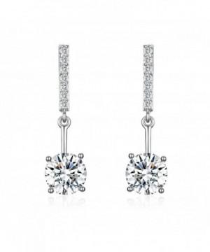 SBLING Platinum Plated Zirconia Earrings 4 25cttw
