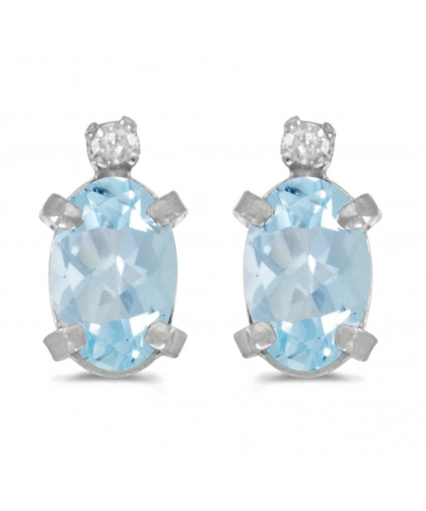 Sterling Silver Aquamarine Diamond Earrings