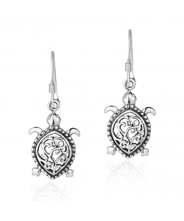 Detailed Pacific Turtle Sterling Earrings